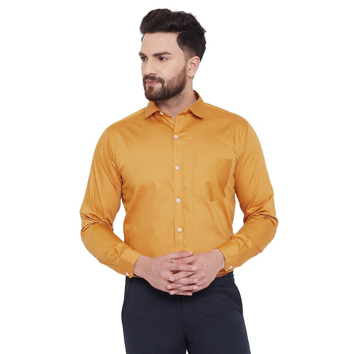 Men's Gold Plain Cotton Reguar Fit Premium Quality Formal Shirt