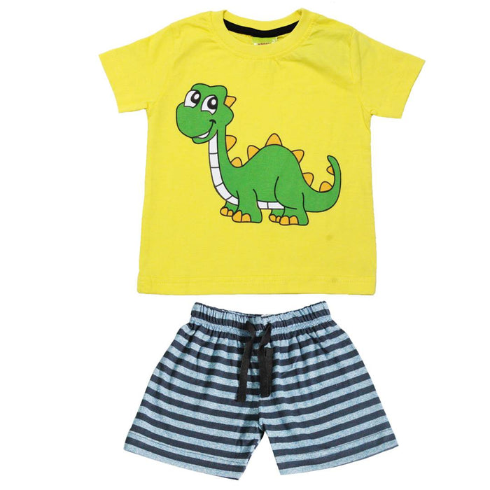 Boy's Printed Multicoloured Cotton T-Shirts with Shorts (Set of 2)
