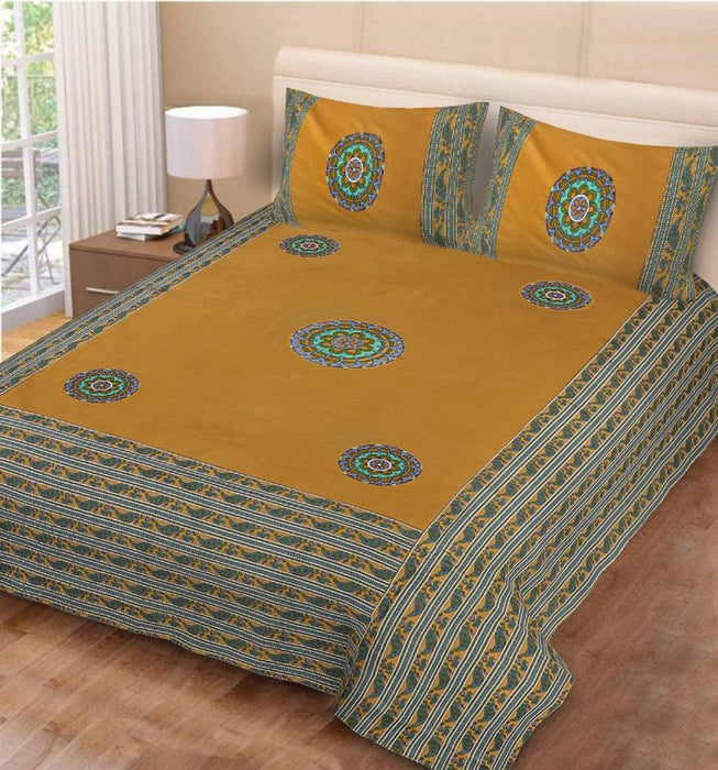 Beautiful Ethnic Motifs Cotton Bedsheet with 2 Pillow Covers
