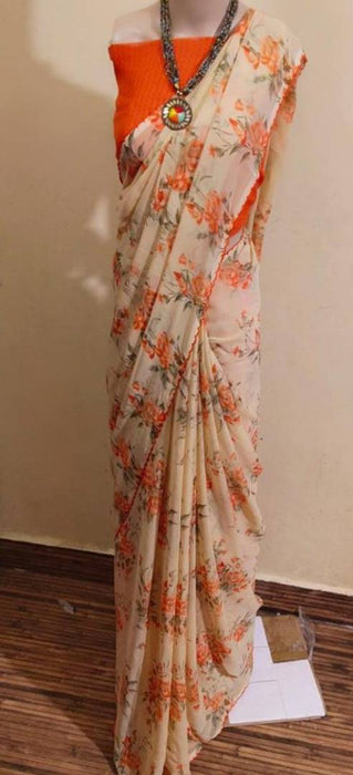 Beautiful  Georgette Saree with Blouse piece