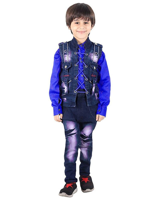 3 Piece Suit Set with Shirt Trousers and Denim Waistcoat for Boy's