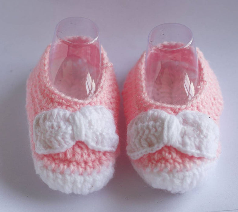 Woolen Soft Sole Pink Booties For Kids