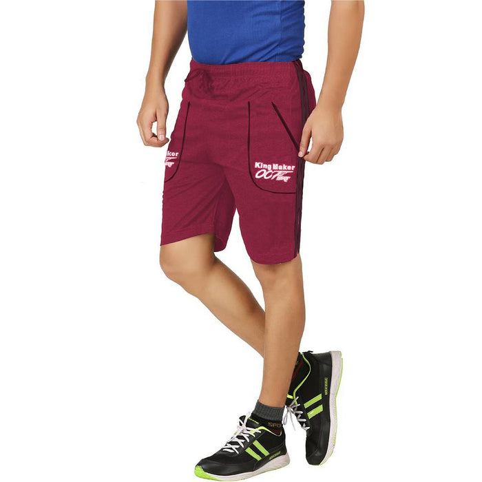 Trendy Magenta Cotton Regular Shorts For Men