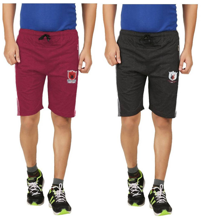 Trendy Multicoloured Cotton Regular Shorts For Men (Pack Of 2)
