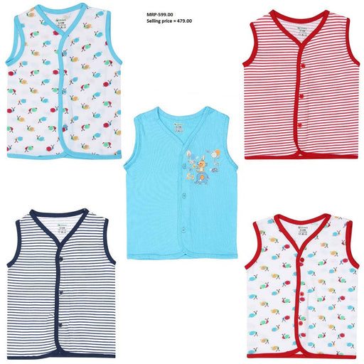 Cute Front Open Sleeveless Top For Baby's ( Pack of 5 )