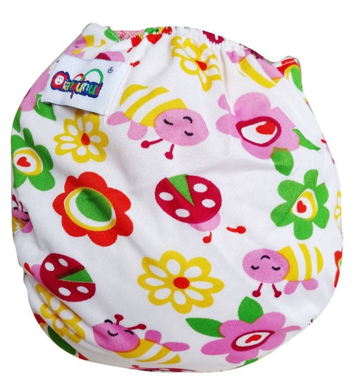 Printed Washable Reusable Adjustable Cloth Diapers With Absorbing Insert Pad - Honey Bee