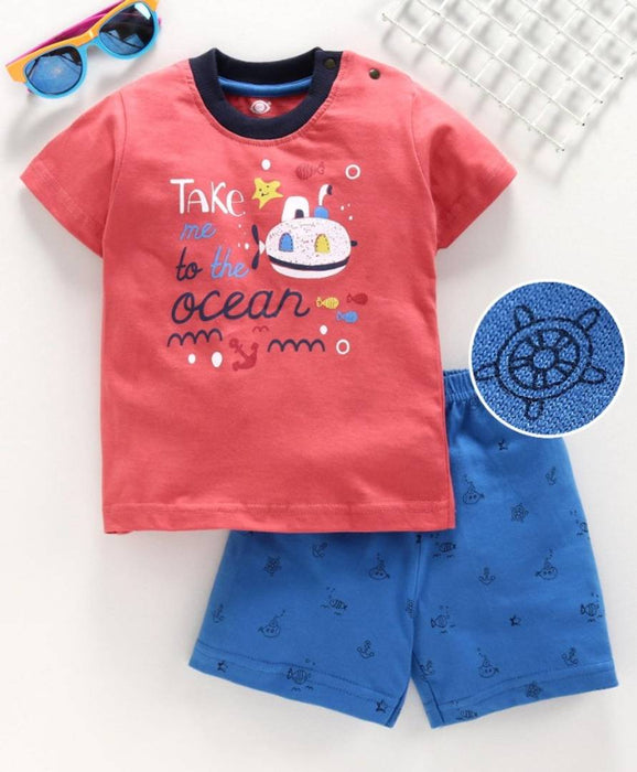 Cot Kids Baby Boy Ocean Printed Clothing Set | Blue, Red, Sky Blue Color | Size 1-3 Months, 3-6 Months, 6-12 Months, 12-18 Months, 18-24 Months| (Blue, 1 Month - 3 Months)