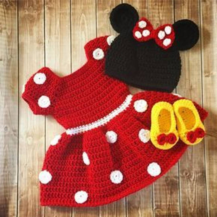 Comfy Woolen Frock And Cap With Bootie For Infant Girls