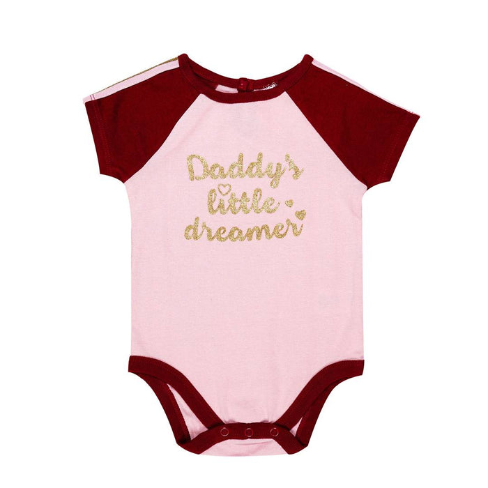 Stylish Cotton Pink Quote Printed Romper For Kids