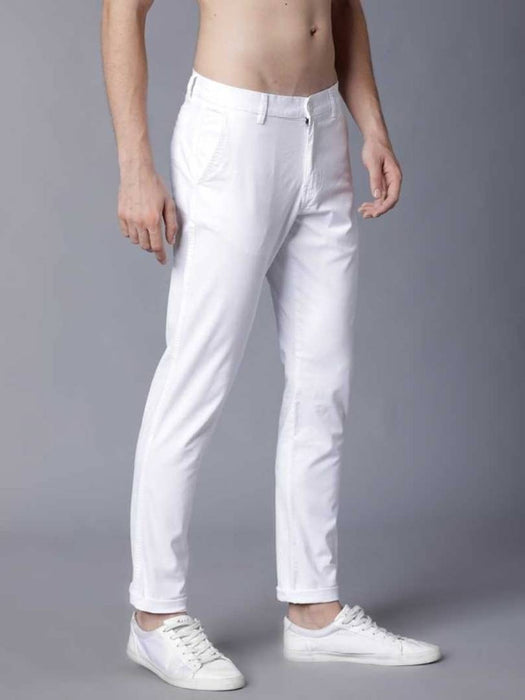 faslook white casual pant for men