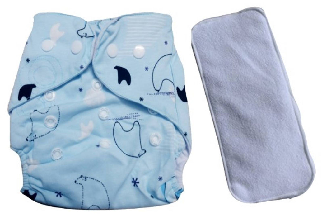 Baby Infant Kids  Plastic Layered Wet Free Diaper Style Pants With Triple Layer Soaking Pads (Pack Of 1 - Blue Print)