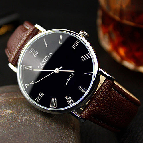 Men Roman Numerals Blu-Ray Faux Leather Band Quartz Analog Business Wrist Watch