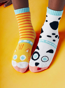 Cat & Dog | Kids Socks Size 4-8 | Collectible Mismatched Crazy Socks
