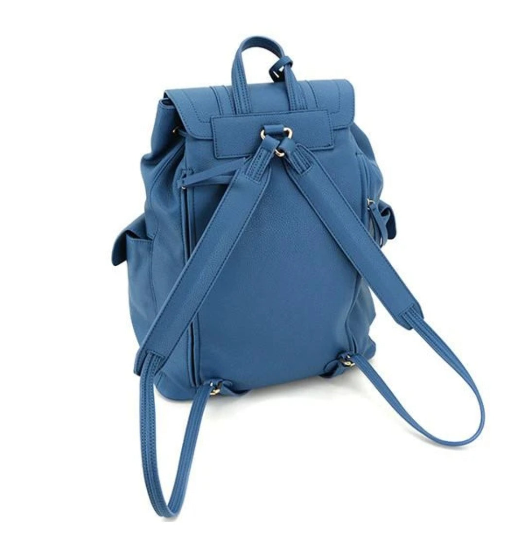 Equinox Concealed Carry Backpack. in blue. 2 side pockets, big enough for water bottles on either side. T wo buckle straps in the front with silver toned hardware. Adjustable straps. Concealed Carry Compartment is ambidextrous and is can carry up to a large framed handgun