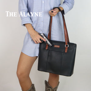 Concealed Carry Alayne Gun Tote Purse by High Caliber Handbag Black