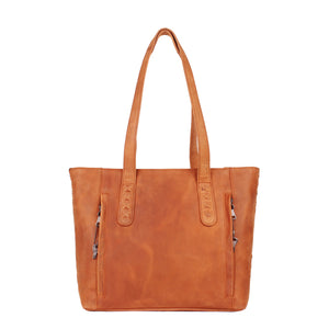 The Concealed Carry Norah Leather Laced Tote is constructed with premium full-grain leather. This superior leather is unique and has its own natural variations in grain and shading. It features intricate leather crisscross stitching on both the front and back. Concealed carry tote in Caramel