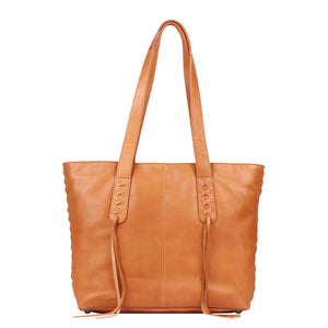 The Concealed Carry Norah Leather Laced Tote is constructed with premium full-grain leather. This superior leather is unique and has its own natural variations in grain and shading. It features intricate leather crisscross stitching on both the front and back with decorative long tassels on the front. CCW Purse in Caramel