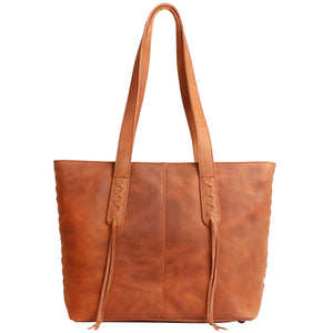 The Concealed Carry Norah Leather Laced Tote is constructed with premium full-grain leather. This superior leather is unique and has its own natural variations in grain and shading. It features intricate leather crisscross stitching on both the front and back with decorative long tassels on the front. CCW Purse in Dark Mahogany