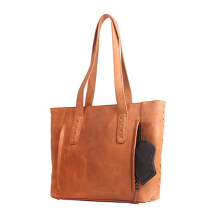 Rear Facing conceal carry Norah tote in Caramel