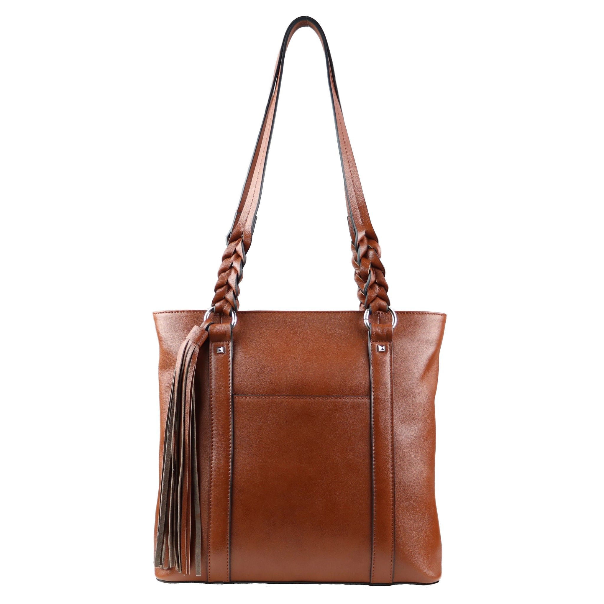 Concealed Carry Bella tote with elegantly braided leather handles and silver toned hardware with ambidextrous locking zippers on the back  Front