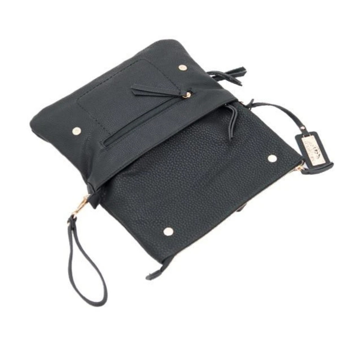 Concealed Carry Crossbody/Clutch Aya's compact design and unique metal decorative plate, as well as the stylish flap, make it one of the most versatile handbags that you can have! CCW