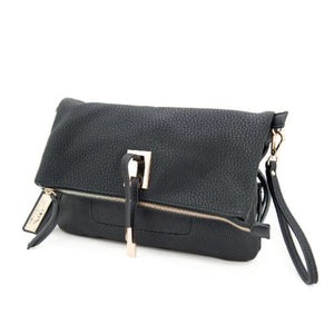 Black Front Facing image of Concealed Carry Crossbody/Clutch Aya's compact design and unique metal decorative plate, as well as the stylish flap, make it one of the most versatile handbags that you can have!