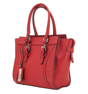 Aphaea Concealed Carry Satchelin Red. Cut Proof Wire Reinforced Handles and Straps. Silver Toned Hardware. Fashion Forward Handbag. Concealed Carry Left Handed and Right Handed