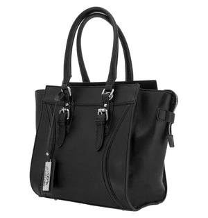 Concealed Carry Aphaea Satchel Handbag in Black. Silver Studded Hardware with Cut proof reinforced wire handles and straps. Concealed Carry Compartment in rear of purse for left and right handed users