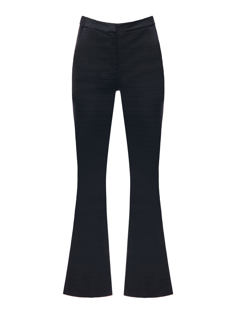 Flared black textured pants.