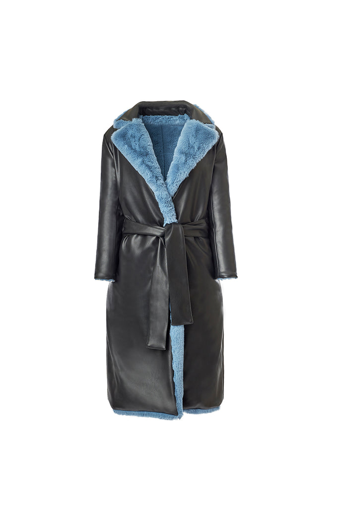 Reversible Faux Fur Trench