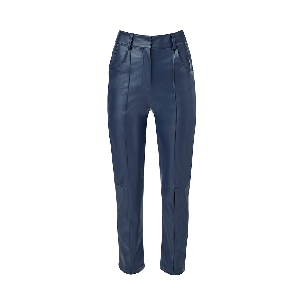Navy Faux Leather Pants