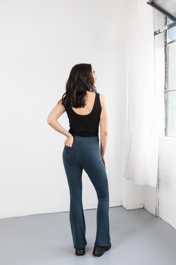 Blue Flare Pants On Model