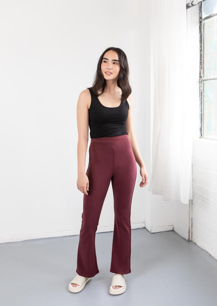Cute Red Flare Pants On Model