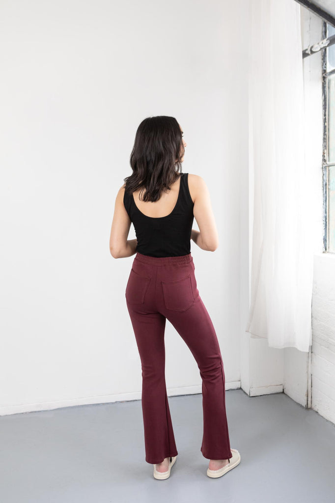 Red Flare Pants On Model