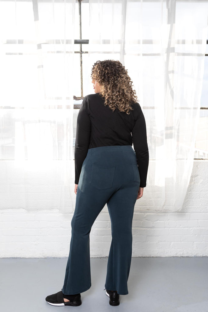 Plus size blue flare pants.