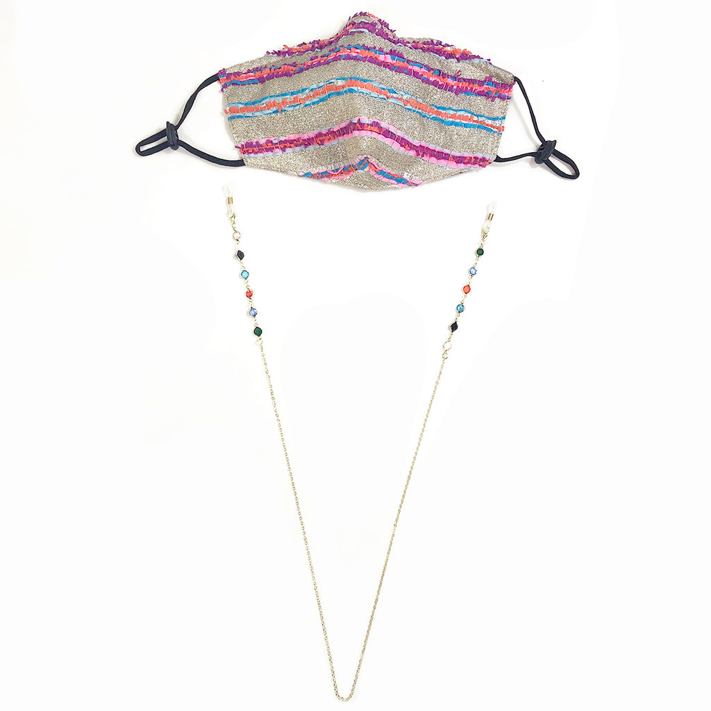 Multi Coloured Jewel Drop Chain Mask