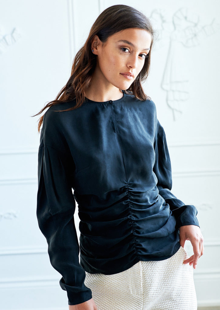 Ruched Keyhole Blouse