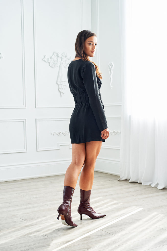 Long Sleeve Cupro Dress