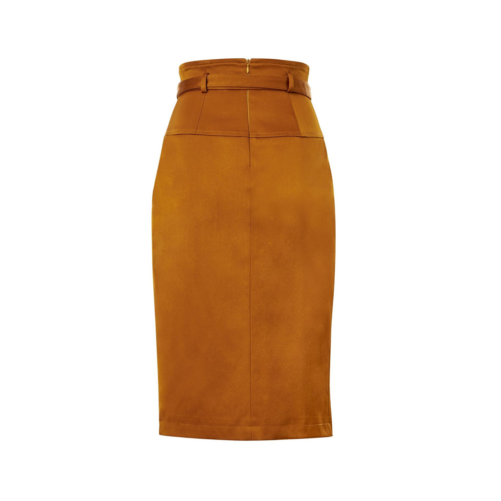 Cognac Slit Skirt