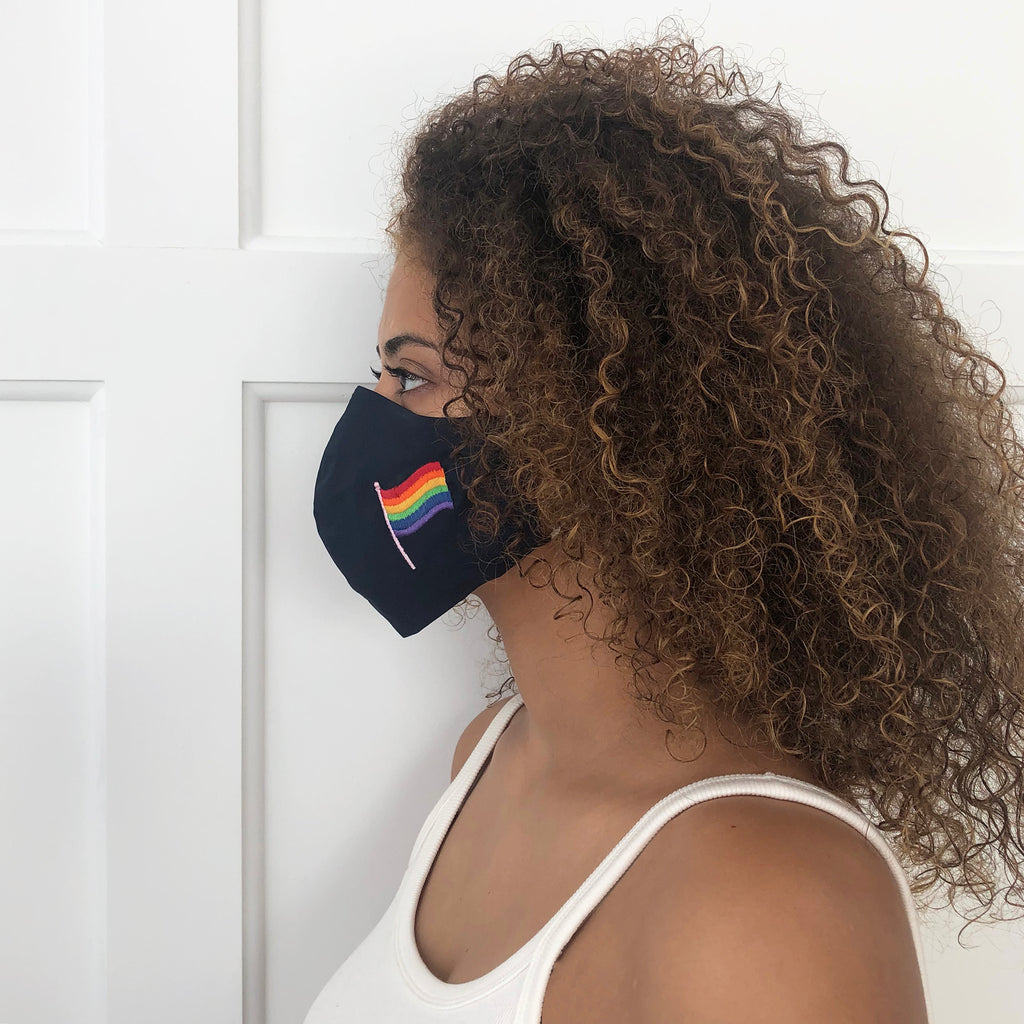 Model Wearing Gay Pride Mask.