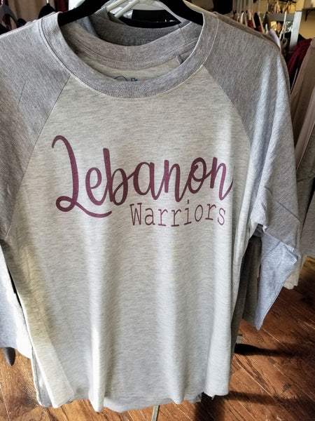 Gray/gray Lebanon Warriors Raglan