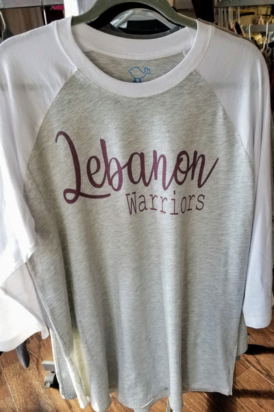 White/gray Lebanon Warriors Raglan
