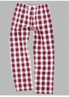 Maroon and white flannel pants