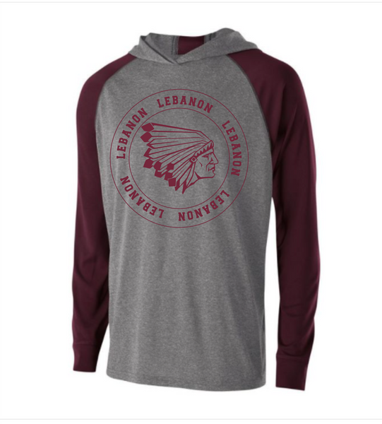 Hooded lightweight sweatshirt, maroon and gray