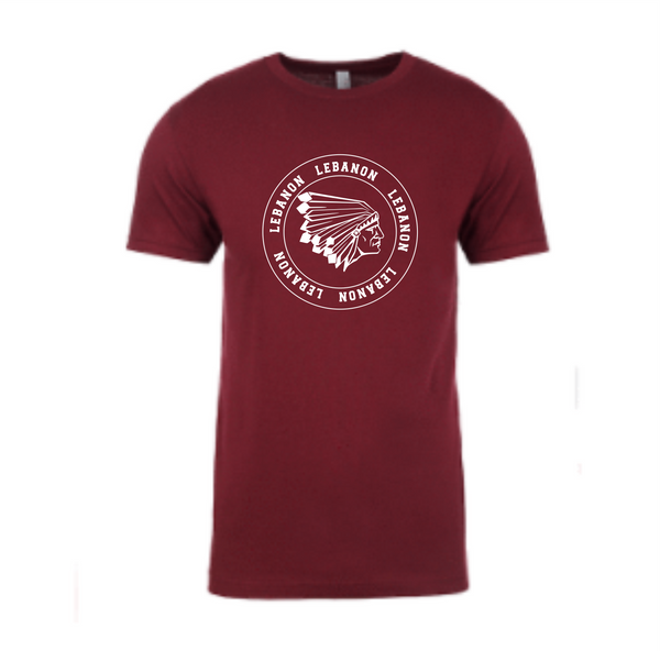 Maroon T shirt with round Lebanon logo