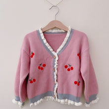 Load image into Gallery viewer, Frilly Cherry Cardigan