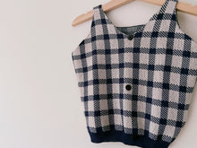 Load image into Gallery viewer, Gingham Blue Knitted Tank Top