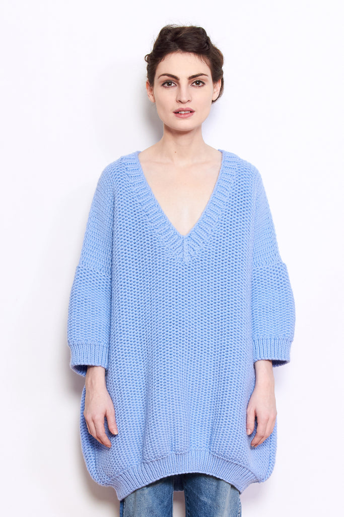 Mr. Mittens Jacqueline Wool Sweater in Placid Blue available at Personnel of New York