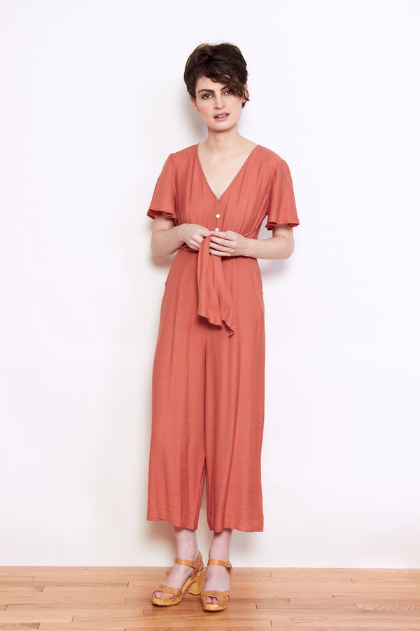 Persons Amelia Tie Jumpsuit in Terracotta