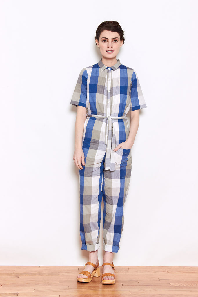 Rujuta Sheth City Jumper in Blue Chex available at Personnel of New York